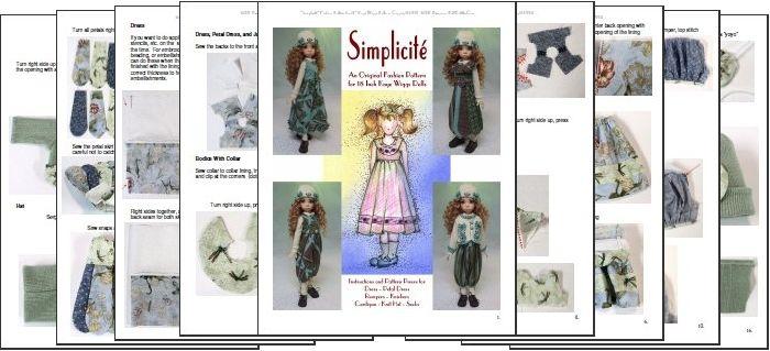 "/""Simplicité/"" Fashion Pattern for 11/"" Kaye Wiggs BJDs"